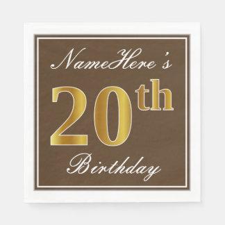 Guardanapo De Papel Brown elegante, aniversário do ouro do falso 20o +