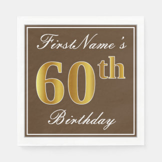Guardanapo De Papel Brown elegante, aniversário do ouro do falso 60th