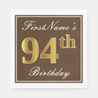 Guardanapo De Papel Brown elegante, aniversário do ouro do falso 94th