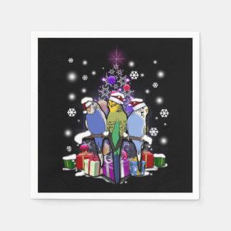 Guardanapo De Papel Budgerigars com presente e flocos de neve do Natal