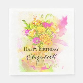 Guardanapo De Papel Buquê da flor da aguarela do aniversário
