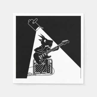 Guardanapo De Papel Cabra preto e branco que joga uma guitarra