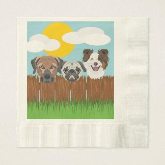 Guardanapo De Papel Cães afortunados da ilustração em uma cerca de