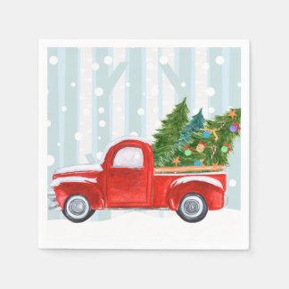 Guardanapo De Papel Camionete vermelho do Natal em uma estrada nevado