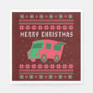 Guardanapo De Papel Camisola feia do Natal do caminhão da comida