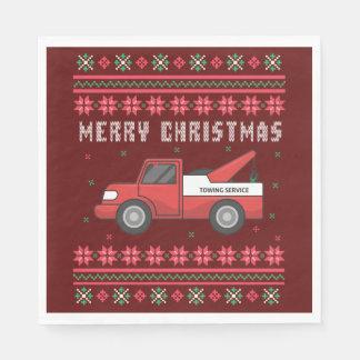 Guardanapo De Papel Camisola feia do Natal do caminhão de reboque