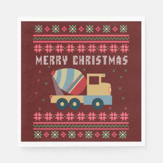 Guardanapo De Papel Camisola feia do Natal do caminhão do cimento