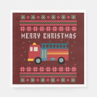 Guardanapo De Papel Camisola feia do Natal do carro de bombeiros
