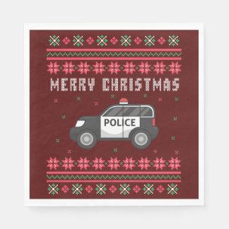 Guardanapo De Papel Camisola feia do Natal do carro de polícia