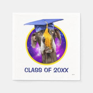 Guardanapo De Papel Cão engraçado da graduação que veste o chapéu