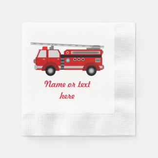 Guardanapo De Papel Carro de bombeiros vermelho com texto