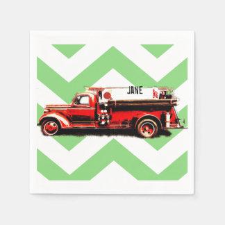 Guardanapo De Papel Carro de bombeiros vermelho do vintage
