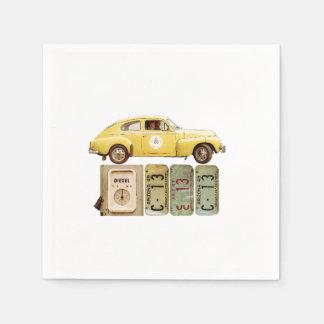 Guardanapo De Papel Carro vintage amarelo