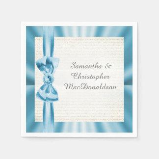 Guardanapo De Papel Casamento azul Pastel do arco da fita do cetim