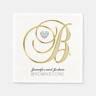 Guardanapo De Papel Casamento branco personalizado do ouro da letra B