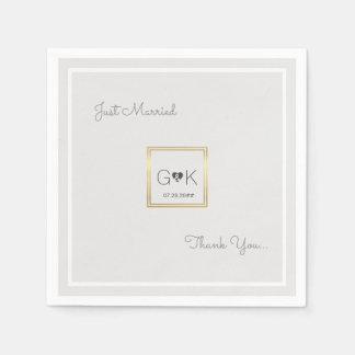Guardanapo De Papel casamento cinzento pálido monogrammed