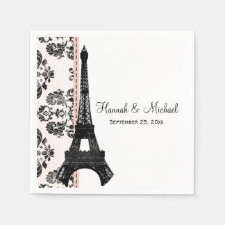 Guardanapo De Papel Casamento cor-de-rosa da torre Eiffel do damasco