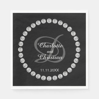 Guardanapo De Papel Casamento de diamante branco preto personalizado