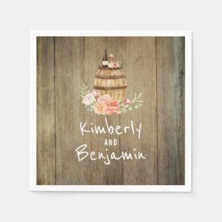 Guardanapo De Papel Casamento de madeira floral rústico do tambor de
