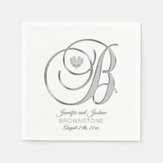 Guardanapo De Papel Casamento de prata personalizado da letra B do
