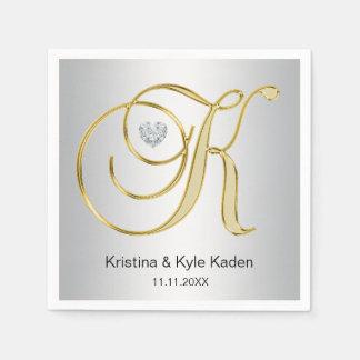 Guardanapo De Papel Casamento de prata personalizado da letra K do