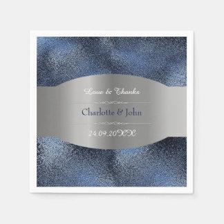 Guardanapo De Papel Casamento de vidro personalizado real dos azuis