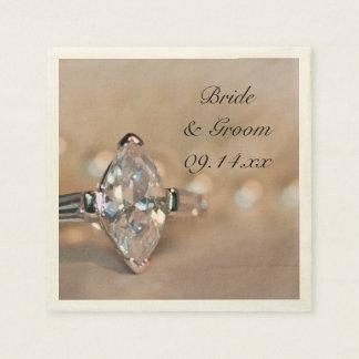 Guardanapo De Papel Casamento do anel de noivado do diamante do