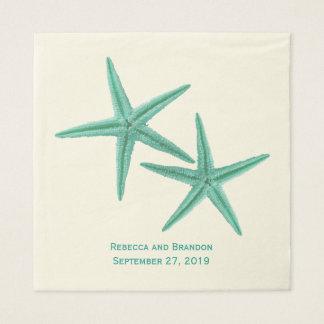 Guardanapo De Papel Casamento do casal da estrela do mar do verde azul