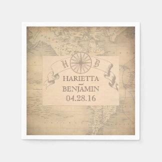 Guardanapo De Papel Casamento do destino do mapa do mundo do vintage