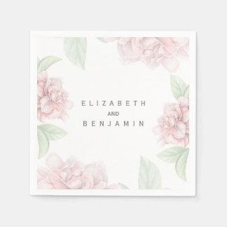 Guardanapo De Papel Casamento elegante branco floral cor-de-rosa macio
