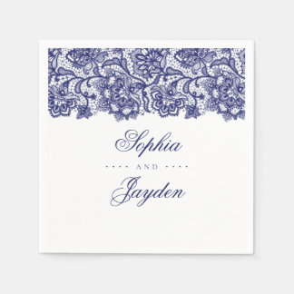 Guardanapo De Papel Casamento elegante do laço dos azuis marinhos