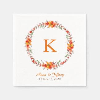 Guardanapo De Papel Casamento floral alaranjado do monograma da