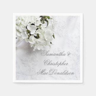 Guardanapo De Papel Casamento floral branco do buquê da flor