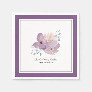 Guardanapo De Papel Casamento floral da aguarela roxa