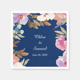 Guardanapo De Papel Casamento floral do jardim dos azuis marinhos