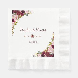 Guardanapo De Papel Casamento floral elegante chique de Borgonha