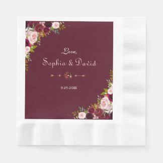 Guardanapo De Papel Casamento floral elegante de Borgonha Marsala
