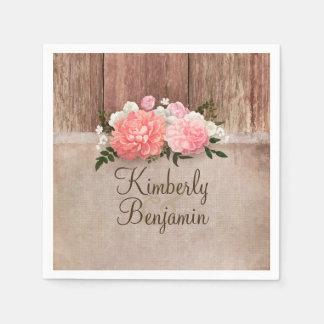 Guardanapo De Papel Casamento floral rústico do celeiro da madeira e