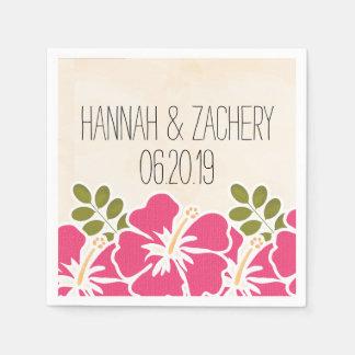 Guardanapo De Papel Casamento havaiano do hibiscus fúcsia