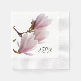 Guardanapo De Papel Casamento Monogrammed da magnólia cor-de-rosa