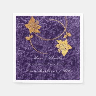 Guardanapo De Papel Casamento nupcial de veludo floral violeta do ouro