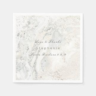 Guardanapo De Papel Casamento nupcial do minimalismo cinzento branco