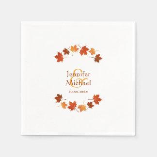 Guardanapo De Papel casamento outono rústico das folhas de bordo do