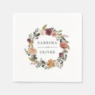 Guardanapo De Papel Casamento personalizado da flor | grinalda floral