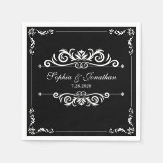 Guardanapo De Papel Casamento preto do vintage elegante simples &