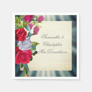 Guardanapo De Papel Casamento romântico floral do buquê da flor