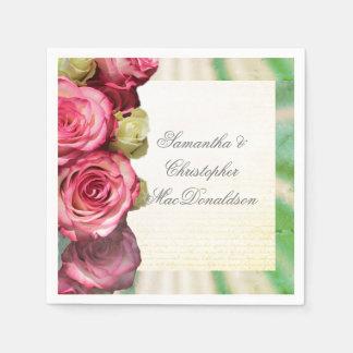 Guardanapo De Papel Casamento romântico floral do rosa do rosa