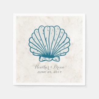 Guardanapo De Papel Casamento rústico do Seashell dos azuis marinhos