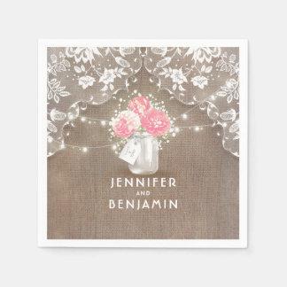 Guardanapo De Papel Casamento rústico floral do frasco de pedreiro de