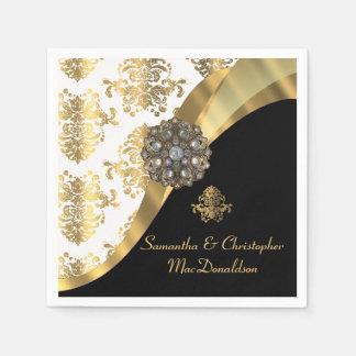 Guardanapo De Papel Casamento tema damasco tradicional branco, preto e